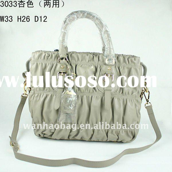 (In stock) 2011 new handbags,beige color,full leather, Messenger bag folds sheepskin Korean women la