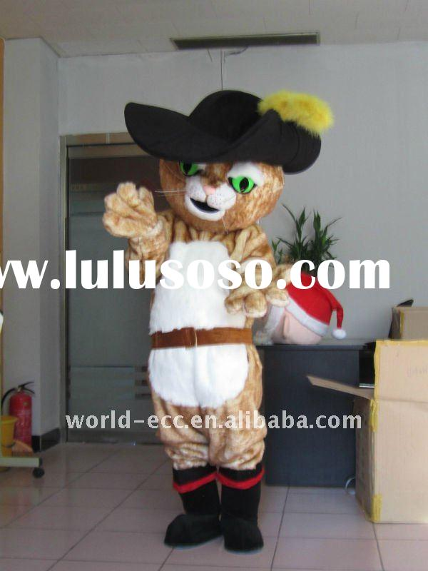2011 push in boots mascot costume, movie cat cartoon costume, fur material mascot costume