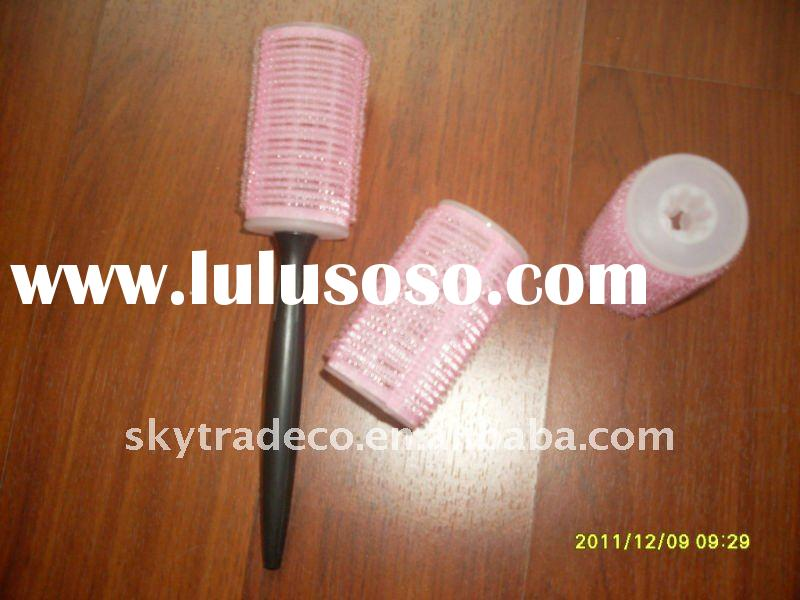 Pink Self-adhesive Hair Roller With Plastic Handle