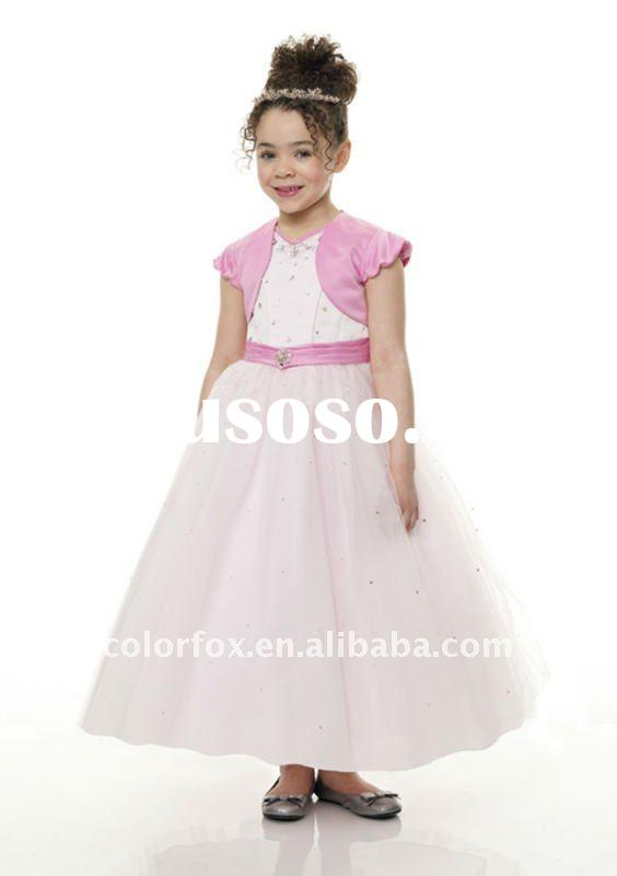 Charming Pink Satin Bow &Tulle Skirt Girls' Pageant Dress