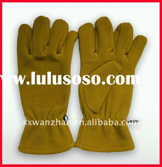 polar fleece gloves with plastic clasp