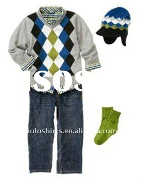 Children's clothing set boy shirts sweater jean sweater socks