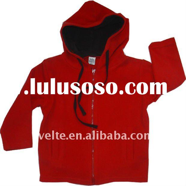 Children's polar fleece coats with zipper and hood