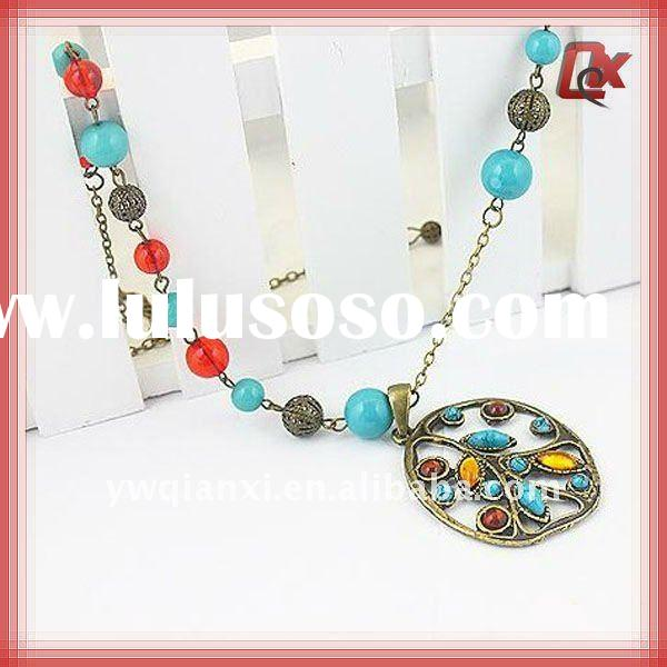 Colorful beads necklace w/alloy pendant ( QXNK11001)