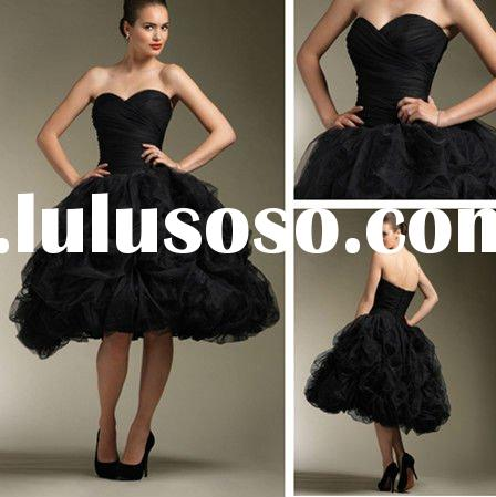 WD3392 A-line Sweetheart Knee Length Red And Black Wedding Dresses