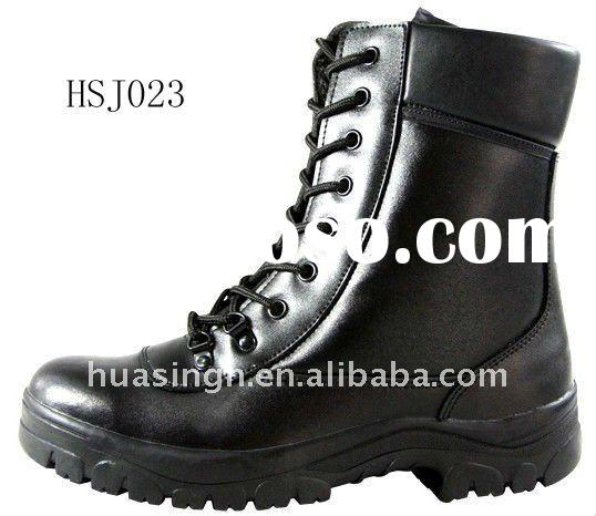 full genuine leather military boots with steel toe