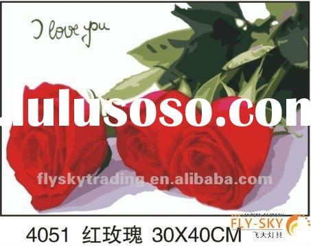 beautiful rose flower diy oil painting by number for wall decoration,flower oil painting by numbers
