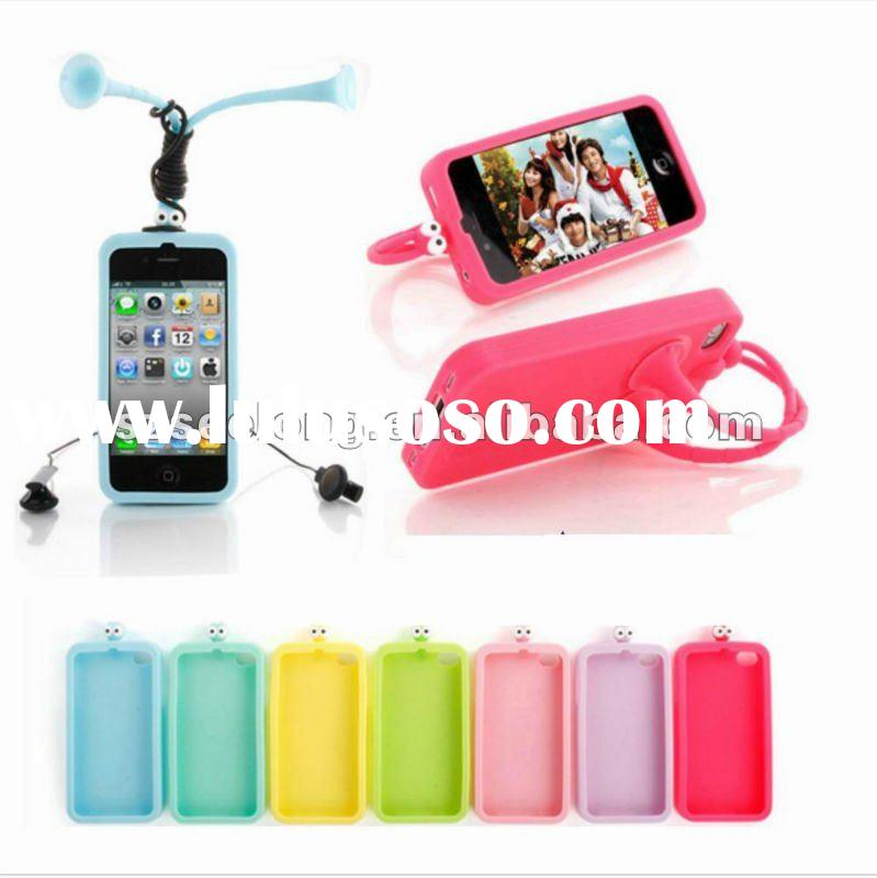 hot!!! 2011 latest silicone case for iphone with stand and sucker