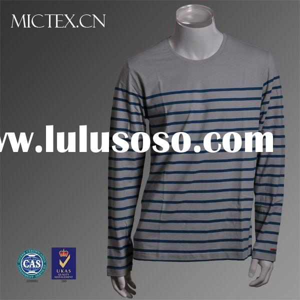 Men's T-shirt cotton O-neck long sleeves printed stripes OEM(ISO9001,SGS Certification)