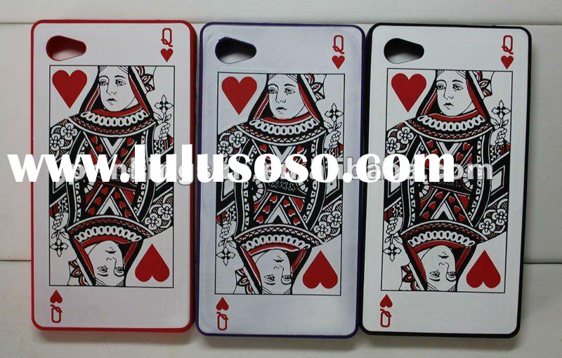 Poker Q Silicon Mobile Phone Case for iPhone4