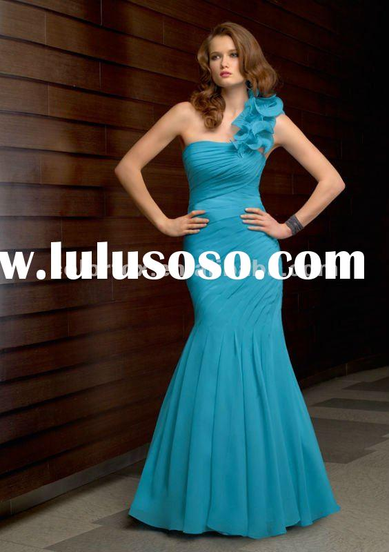 Voguish Turquiose One -Shoulder Mermaid Evening Dress