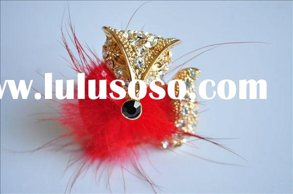 gold plated adjustable ring band cute red fox feather diamond ring