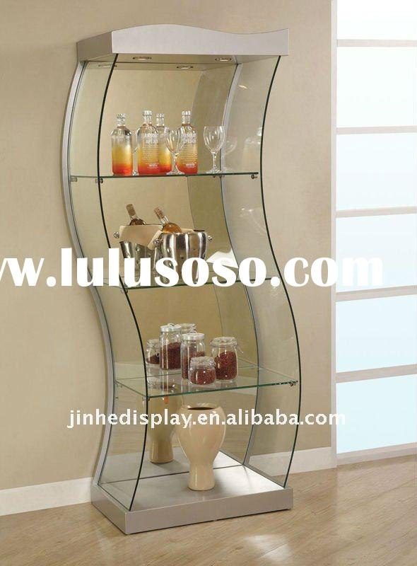 s shape glass display shelf directly from factory