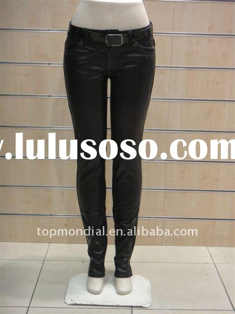 2011 fashion hot sale skinny leather fabrics women's pants/trousers