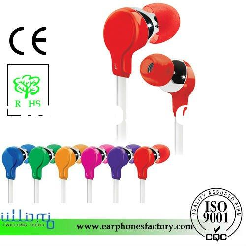 EAR1148 Stereo headphone with flat cable for iphone,mobile phone,ipod (Red)