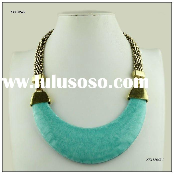 Fashion Big Blue Resin Gold Alloy Necklace,Fashion Hot Sale Jewellery