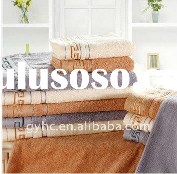 100% cotton solid towel set with satin border
