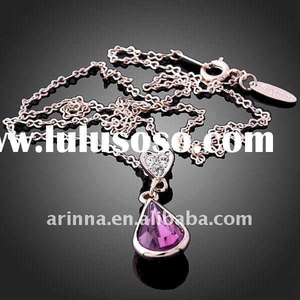 ARINNA Rose Gold Plated Fashion Purple Crystal Amethyst Women Necklace Jewelry N0449