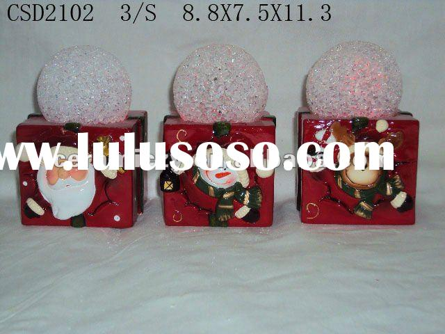 Ceramic christmas santa claus candle holder with LED
