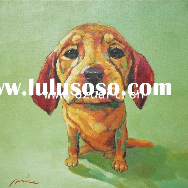 Contemporary abstract cute dog oil painting on canvas