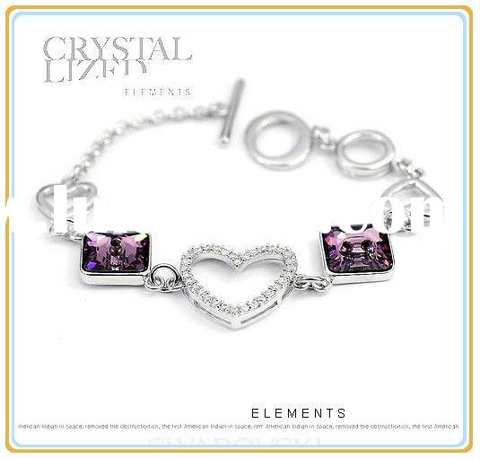 Free shipping charm bracelet of purple