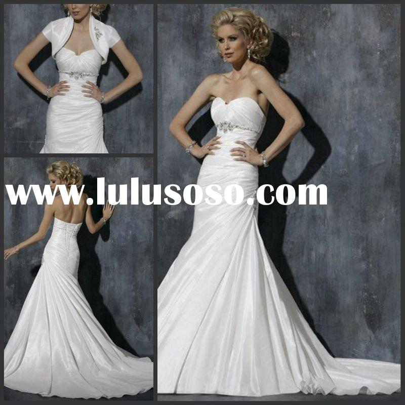 2012 Beautiful a-line strapless sweetheart neckline beaded side draped bridal wedding dress with bol