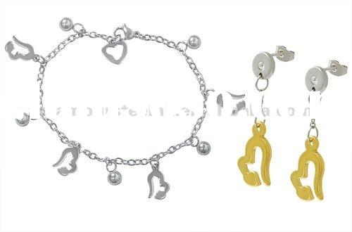 2012 Heart shape Charm bracelets & Drop earrings stainless steel wholesale fashion jewelry set