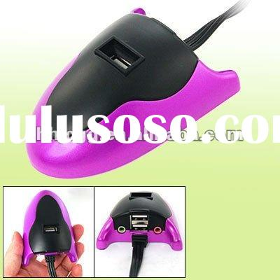 Mouse Shape Audio Jack Plug Cable USB 2.0 3 Ports Power Hub