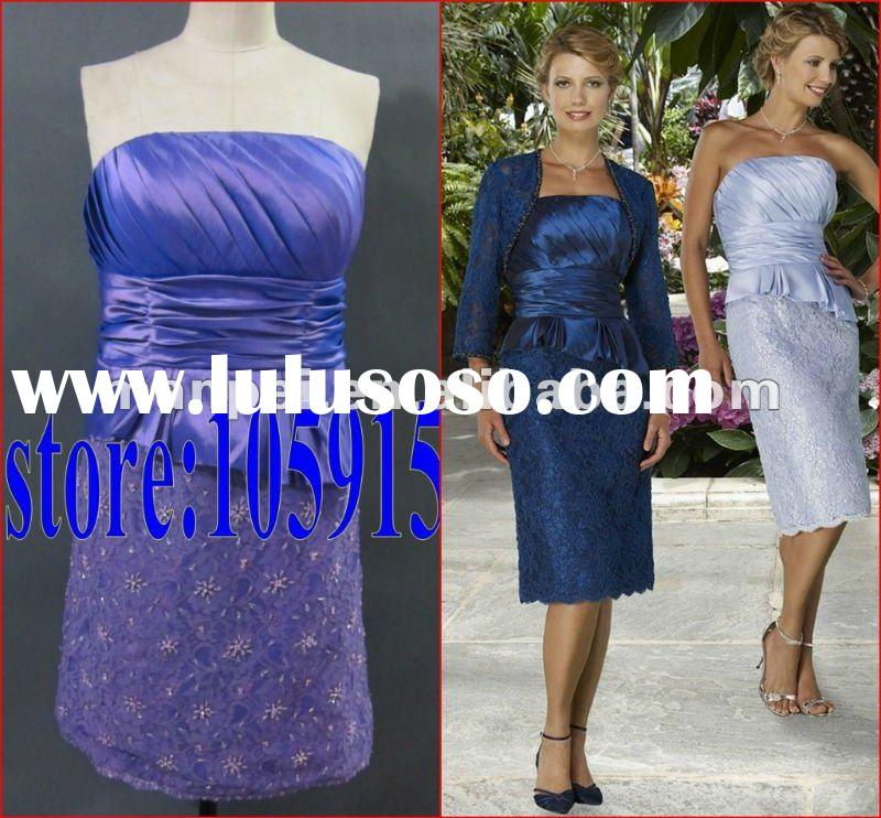 (MH-2)Custom Made Strapless Ruched Long Sleeve Elegant Knee-length Sheath Mother Of The Bride Lace D