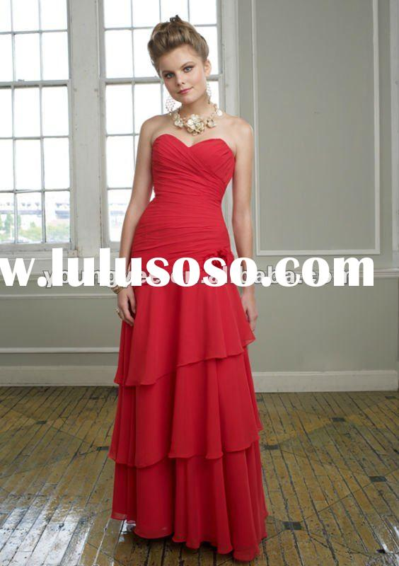 2012 New design strapless sweetheart neckline pleated skirt bridesmaid dress