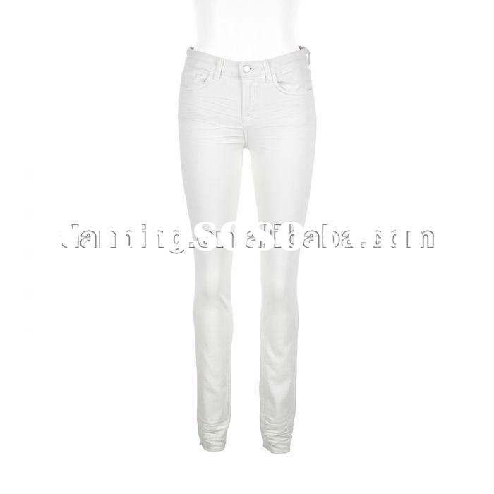 ladies white colored skinny jeans