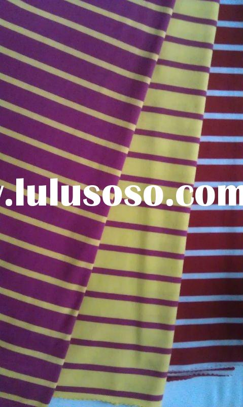70% polyester 30%viscose yarn dyed color bar jersey