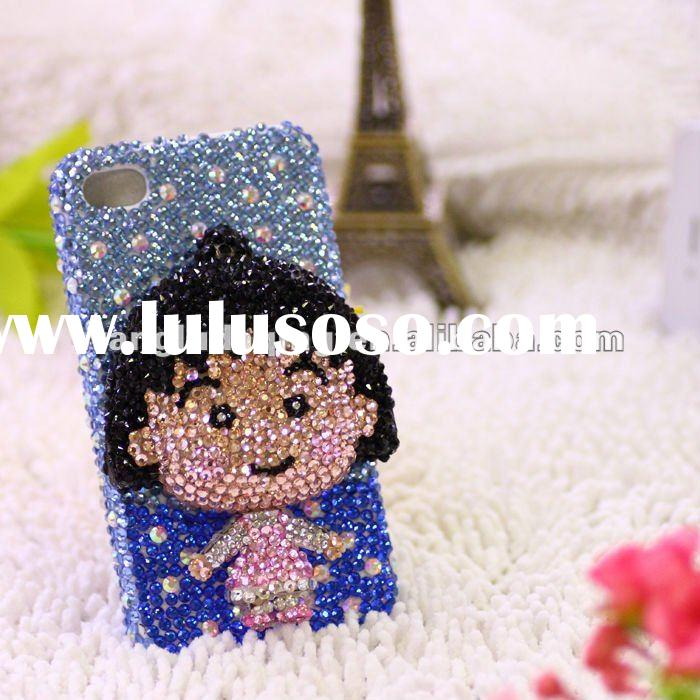 brand new style whole diamond mobile phone case cover for iphone4G-slap-up blue diamond sakura momok