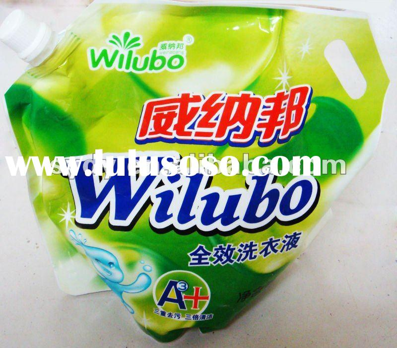 printed Plastic Packaging Bag for laundry detergent with spout top and patch handle