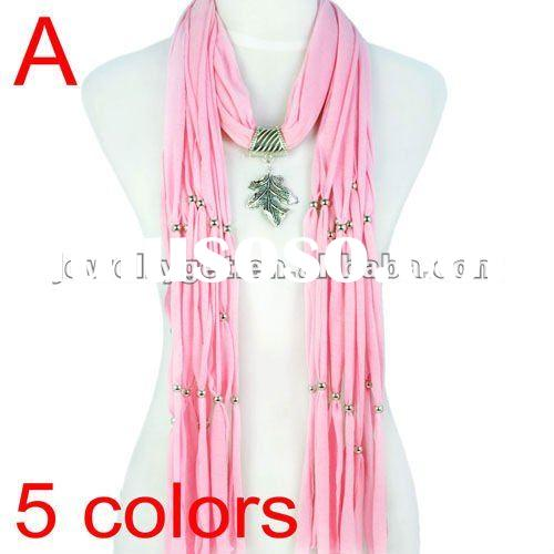 Free Shipping,Fashion Long Tassel Leaf Pendant Necklace Scarf Winter Shawls,5 Colors Available,NL-16