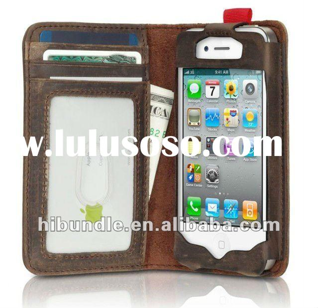 for iphone 4 4s retro genuine leather wallet case