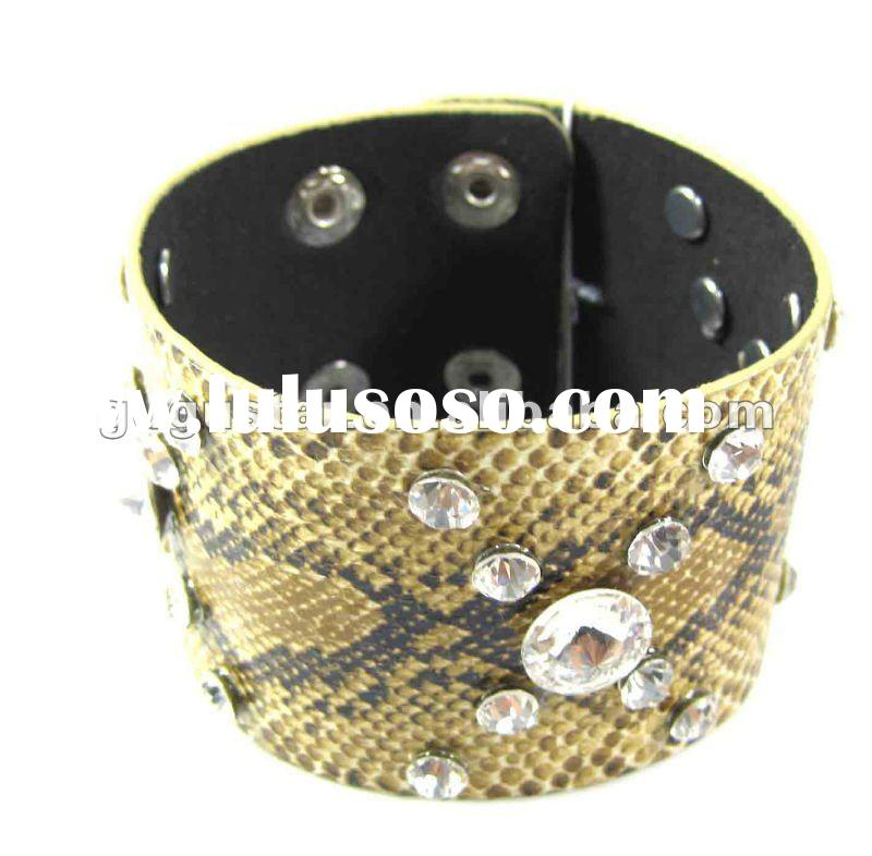 yellow color snakeskin leather bracelets with diamond
