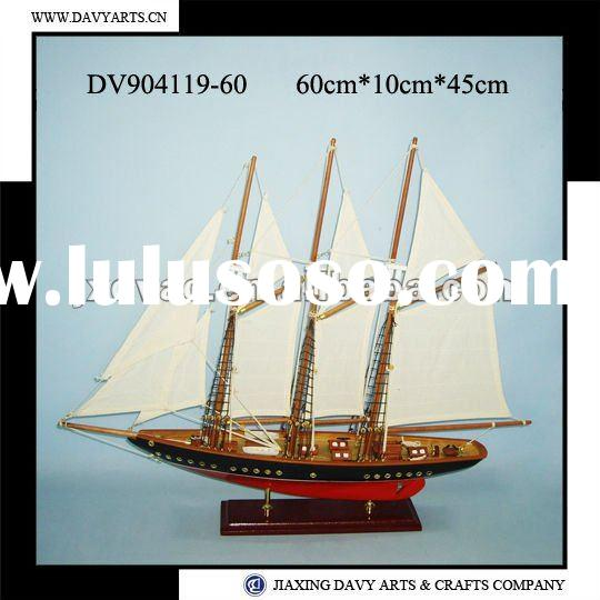 Decorative wooden model sailing boat
