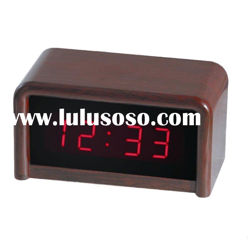 nice quality clear tempeature led wooden desk clock