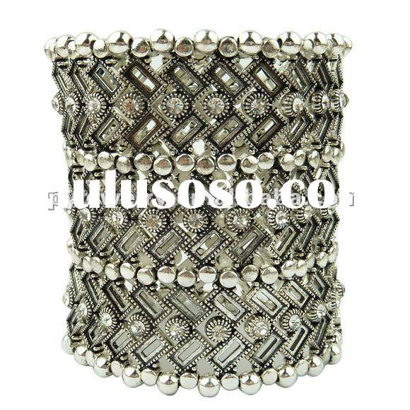 Chunky Stretch Rhinestone Bracelet,Women Antique Silver Costume Jewelry