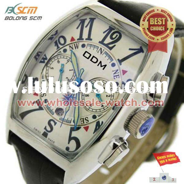 Vacuum Plating Silver Case Chronograph Watches Men
