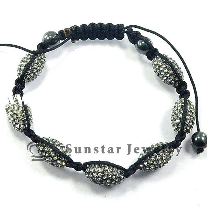 hot sale crystal ball 10*16mm, shamballa style bracelet with black braided rope