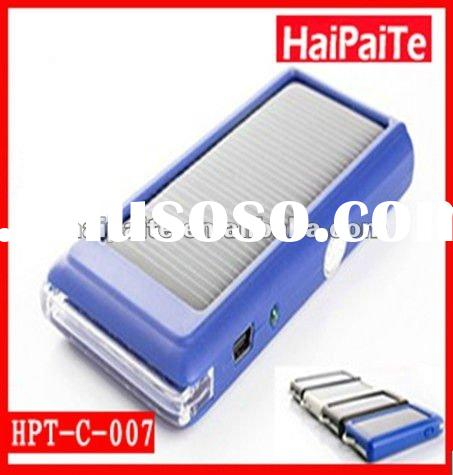 2012 New!! HaiPaiTech Solar Charger With 80mA Panel&1200mAh Rechargeable Battery & Various O
