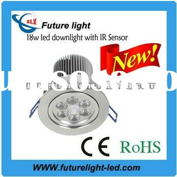 2012 high power technical innovation with IR sensor 18w led downlight