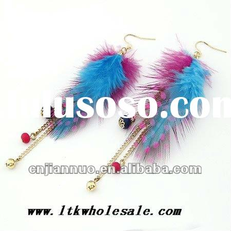 hot sale jewelry feather earrings size about 110x25mm