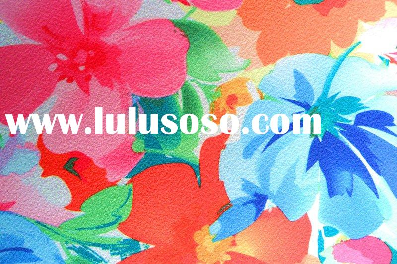 100% Poly Fabric Colorful Flower Pattern