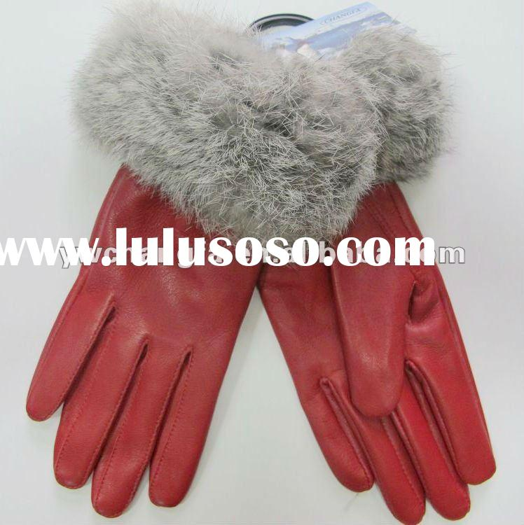 leather with real fox fur gloves