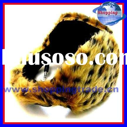 Leopard fur headphones
