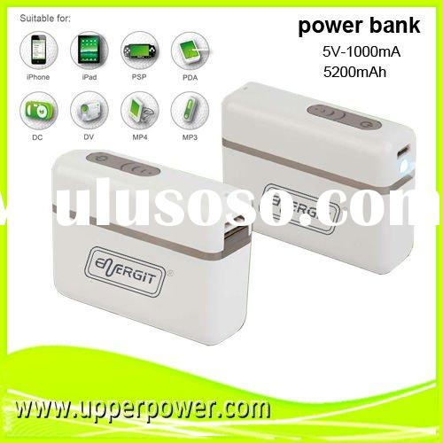 2012 new high capacity 5200mAh mobile portable power bank with LED torch for Iphone, ipad,samsung,ht