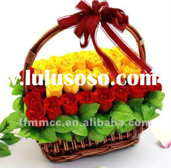 Hand made beautiful soap flowers in gift basket
